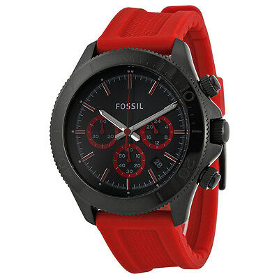 Fossil Retro Traveler Chronograph Black Dial Red Silicone Mens Watch CH2871