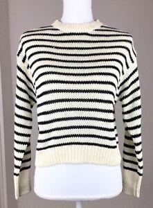 Sweater L Women Supply Denim Xl Lauren Crewneck S Round M Cream Ralph Striped twUPqUxF