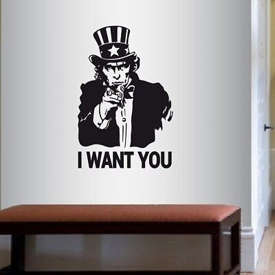 No Smoking uncle Sam I want YOU ART cool Joke funny vinyl Sticker Decal