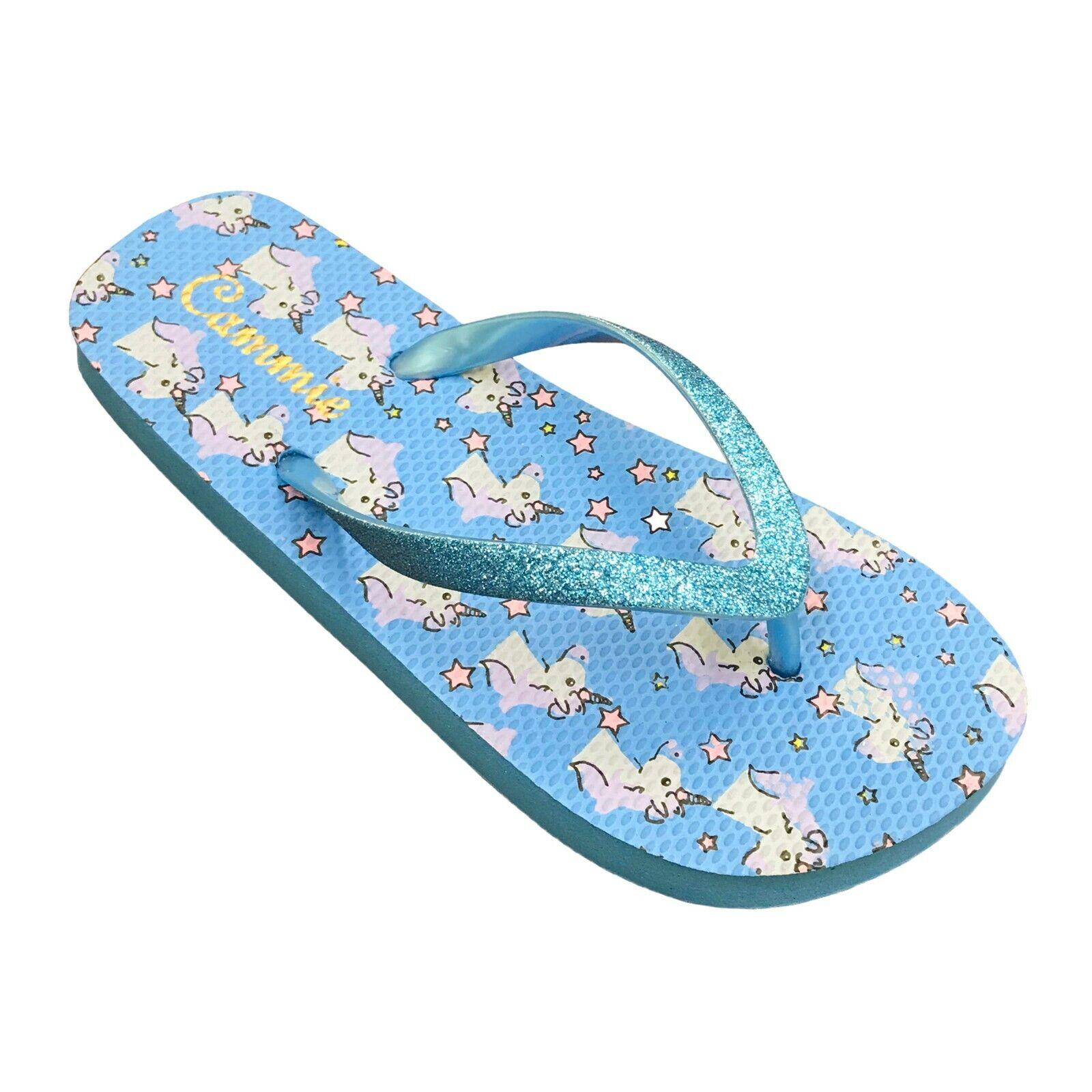 NEW Kids Sandals Girls Unicorn Print Glitter Thong Flip Flops Youth Size 12 to 4