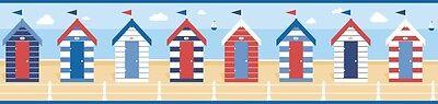 FINE DECOR BLUE WHITE SEASIDE BEACH HUT WALLPAPER BORDER SELF ADHESIVE FDB50021