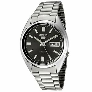 Seiko 5 Mens Automatic Watch SNXS79 with Black Dial and Silver Stainless Stee...