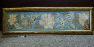 Beautiful-antique-old-gold-thread-framed-tapestry-embroidery-Chinese-Silk