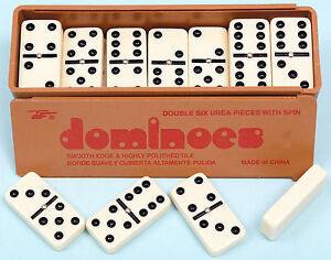 New-Double-Six-Dominoes-with-Spinners-in-the-Box-with-slide-Lid-Ivory-dominos