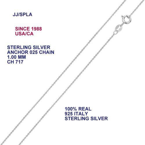 Sterling Silver Anchor 025 Chain 1,1.2,1.3,1.6 MM MADE IN ITALY