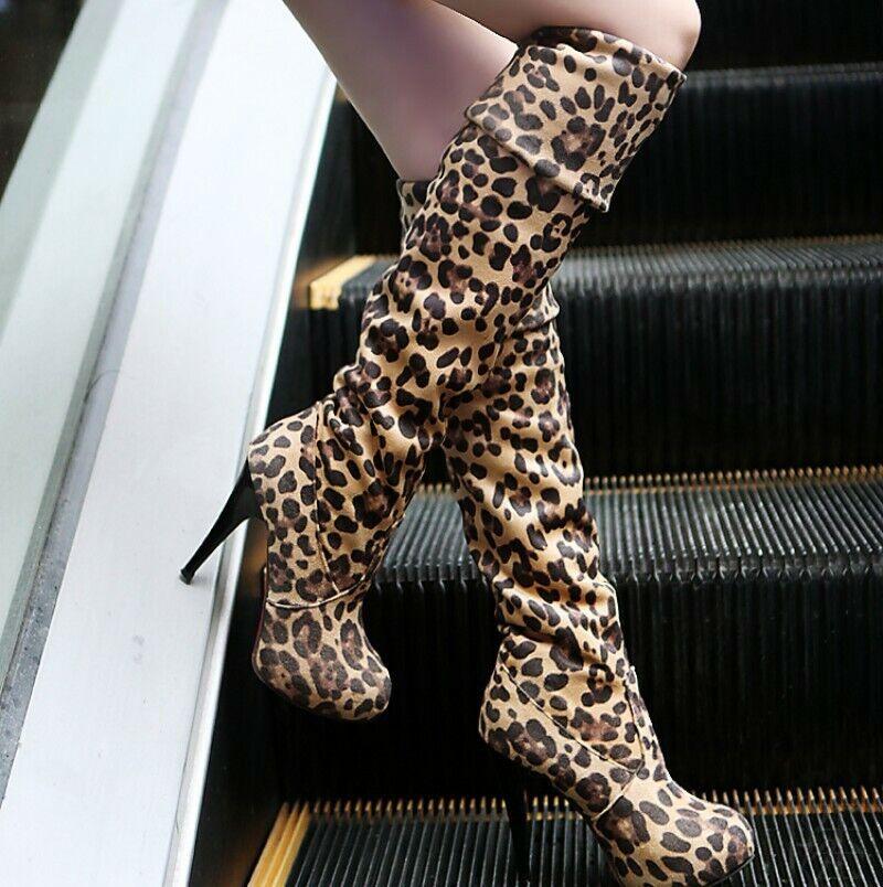 Damen Stilettos High Heel Oberschenkel Stretch Overknee Leopardenmuster 41 42 43