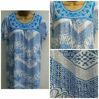 Ladies Ex Store Plus size  White Blue Summer Tunic Top T-Shirt Size: 12 - 22