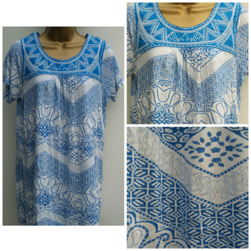 Ladies Ex Store Plus size  White Blue Summer Tunic Top T-Shirt Size 12-22