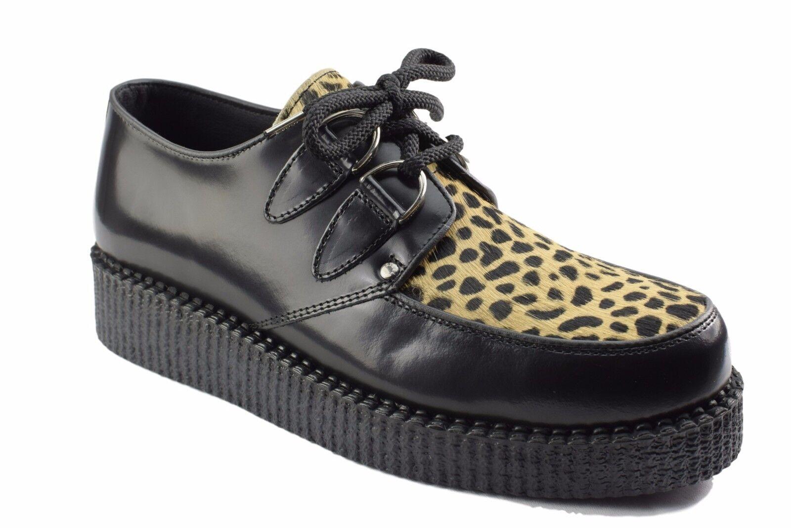 Acier Sol Chaussures en Cuir Noir Leopard Hair creepers Faible sole D sacue