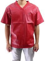 Brand Kite Men's Premium Mesh Faux Leather Baseball Jersey Shirt Red