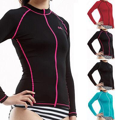 New Surf Rash Guard Women Long Sleeve Full Zip-up Top Swimwear Nova