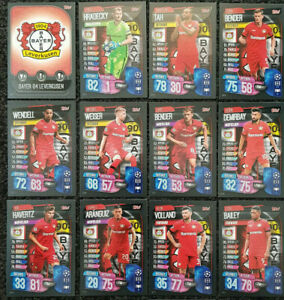 2019-20-Match-Attax-UEFA-Soccer-Cards-Full-Team-Set-Leverkusen-12-cards