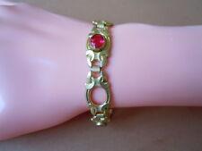 Antikes vergoldetes DRGM/B Krone Symbol Armband 3 x pinke Farbsteine 8,8 g/18 cm
