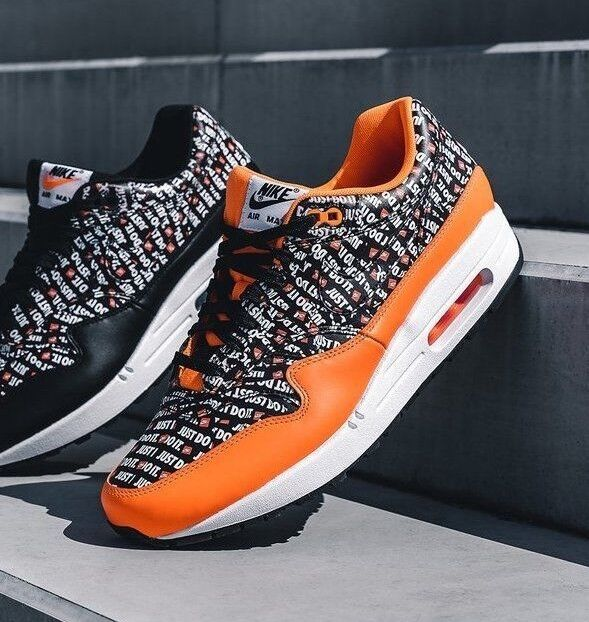 5e7755acb2 Nike Air Max 1 Premium Black/total Orange Just Do It Trainers SNEAKERS  Boxed for sale online | eBay