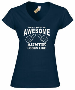 Awesome AUNTIE T-Shirt aunty aunt gift womens present tee ladies v-neck top