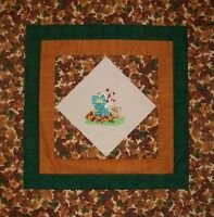 Handmade Fall Sunbonnet Sue On Point Embroidered Baby Quilt Top 41.5x 41.5