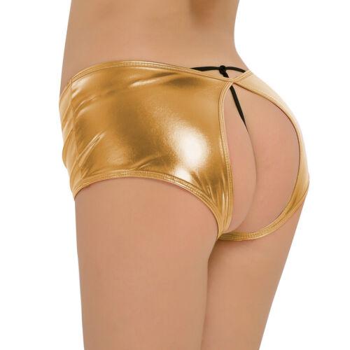 Womens Underpants Wetlook Crotch Mini Brief Panties Thong Lingerie Costume Short