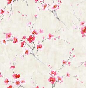 Wallpaper-Designer-Red-Pink-White-Yellow-Cherry-Blossoms-on-Gray-Faux
