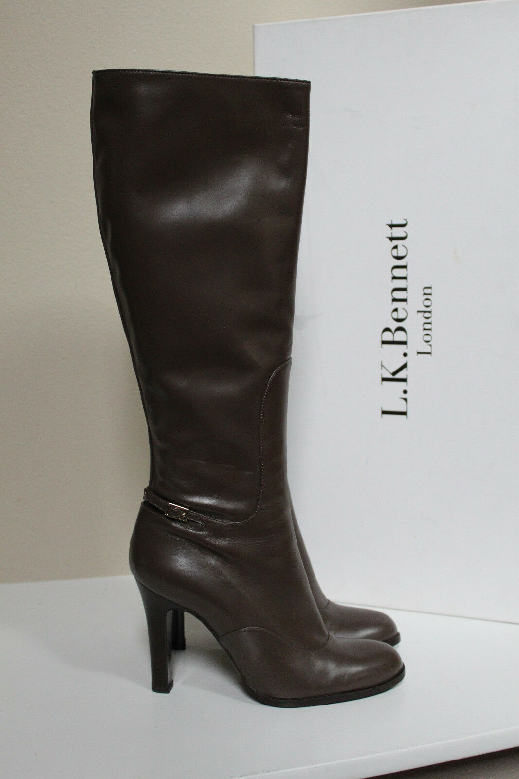 Nouveau sz 9.5 39.5 L. K. Bennett London Angela Dark amande cuir Tall démarrage chaussures