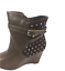 thumbnail 9 - Womens Ladies Coffee Faux Leather High Wedge Heel Shoes Ankle Boots Size 8 New