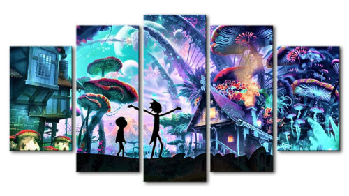 VV463 HD Printed Painting on canvas Home Decor art 5Pcs//set Rick and Morty