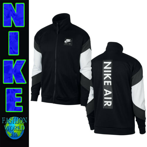 NIKE MEN/'S SIZE LARGE NSW AIR POLYKNIT TRACK JACKET AJ5321-010 BLACK//GREY//WHITE