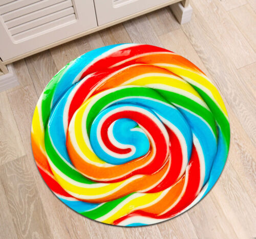 Round Floor Mat Bedroom Carpet Colorful Lollipop Candy Living Room Area Rugs HOT