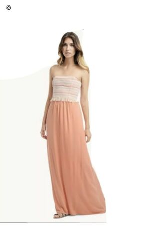Ella Moss Raffia Maxi Dress Salmon, Size S