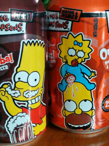 Lot-of-2-VINTAGE-2003-Canada-Exclusive-SIMPSONS-SODA-POP-CAN-Homer-Maggie-Bart