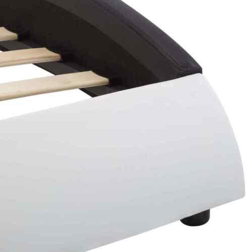 vidaXL Cadre de Lit avec LED Blanc et Noir Similicuir 90x200 cm Rembourré