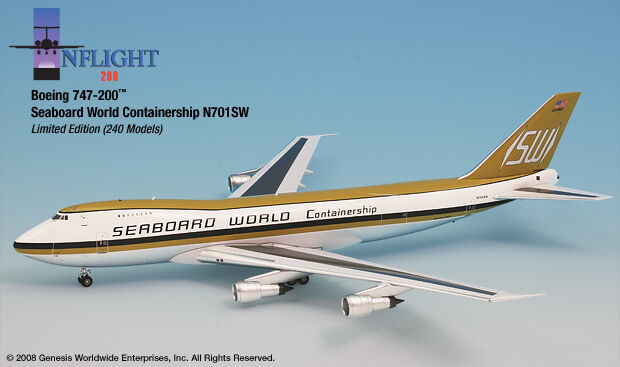 InFlight200 Seaboard World Airlines N701SW Boeing 747-200 1 200 Scale Diecast