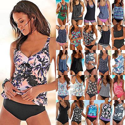 Printed Strap Swimsuit Push-Up Conservative Swimdress Top Bikini Women Boy Shorts Tankini Sets
