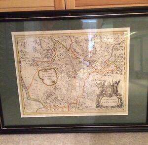 Alter-Kupferstich-Landkarte-gerahmt-Territorio-Pervgino-Lago-de-Perugia