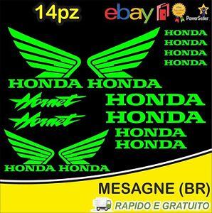 Kit-14pz-adesivi-replica-Honda-Hornet-moto-casco-colore-Verde
