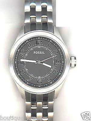NWT Fossil BQ1037 Stainless Steel Silver Tone Bracelet Black Dial Men's Watch