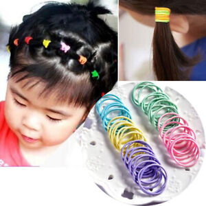 100pcs Mixed Color Baby Kids Girl Elastic Hair Bands Ponytail