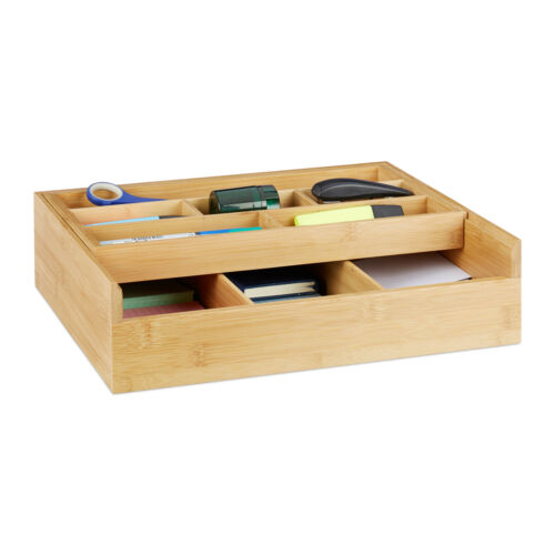 Sortierkasten Bambus Schubladeneinsatz 9 Fächer Küchenorganizer Aufbewahrungsbox