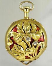 Rare Art Nouveau 18K Gold Enamel Toi Et Moi Diamonds Iris Flowers Watch Pendant!