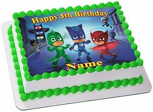 Image Is Loading PJ MASKS REAL EDIBLE ICING CAKE TOPPER PARTY