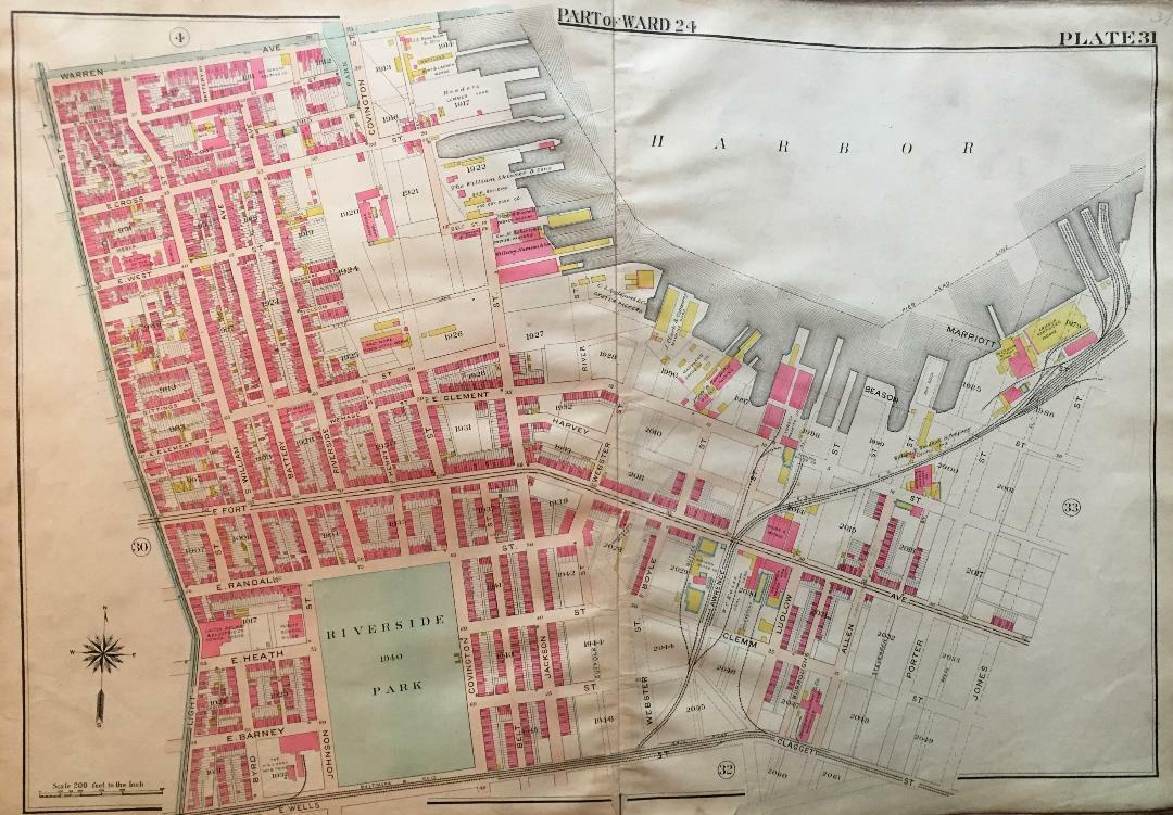 1906 BALTIMORE MARYLAND RIVERSIDE FEDERAL HILL PARK LIGHT ST-JONES ST ATLAS MAP
