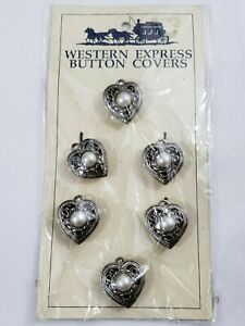 Vintage-Button-Covers-Western-Filigree-Heart-Shaped-Faux-Pearl-Silver-Tone-6-PC
