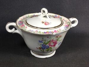 Ancien-sucrier-en-ceramique-de-France-decor-de-fleurs-service-a-the-vintage