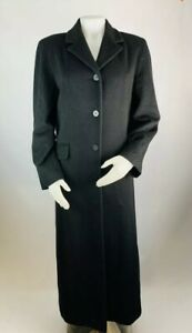 Brooks-Brothers-12-Women-s-Wool-Cashmere-Blend-Coat-Overcoat-Trench-Pea-Black