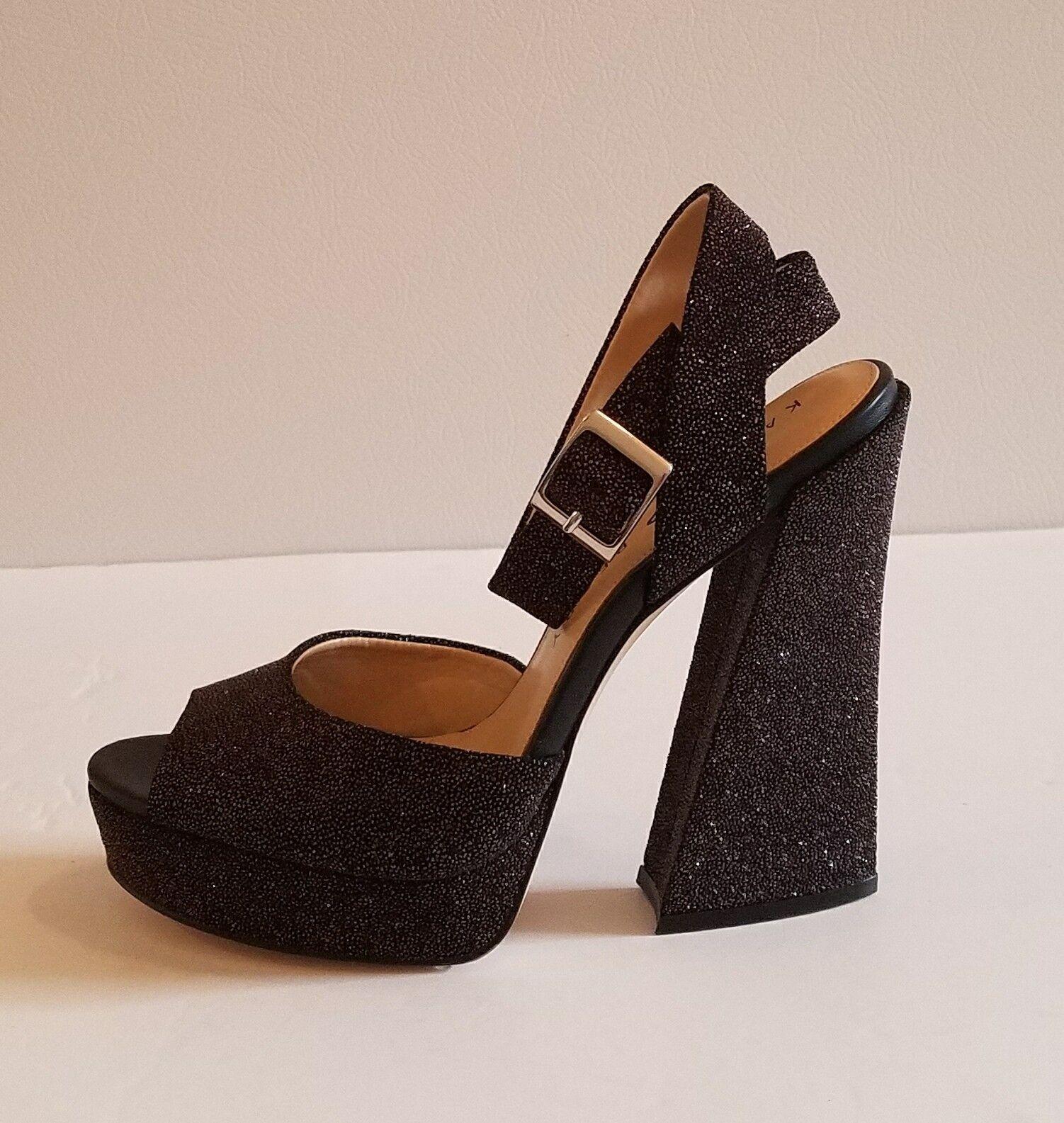 NWOB KATY PERRY Maggie Sparkly  High Heel Sandal Unique Retro 70's Sandal sz 8