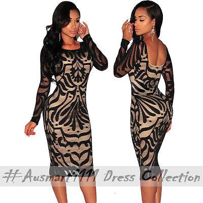 Casual Office Party Wear Long Sleeve Stretch Midi Bodycon Clubwear Dress