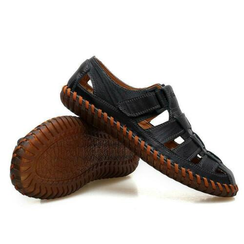Men/'s Summer Breathable Leather Sandals Outdoor Closed Toe Fisherman Flat Shoes