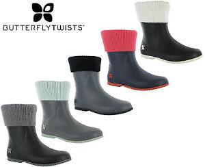 Festival-Short-Wellingtons-Butterfly-Twist-Fold-Up-Womens-Rain-Boots-ETON