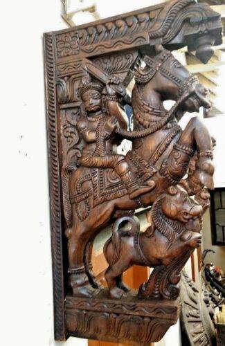 Wall Wooden Bracket War Horse Corbel Pair Sculpture Statue Vintage Home Decor