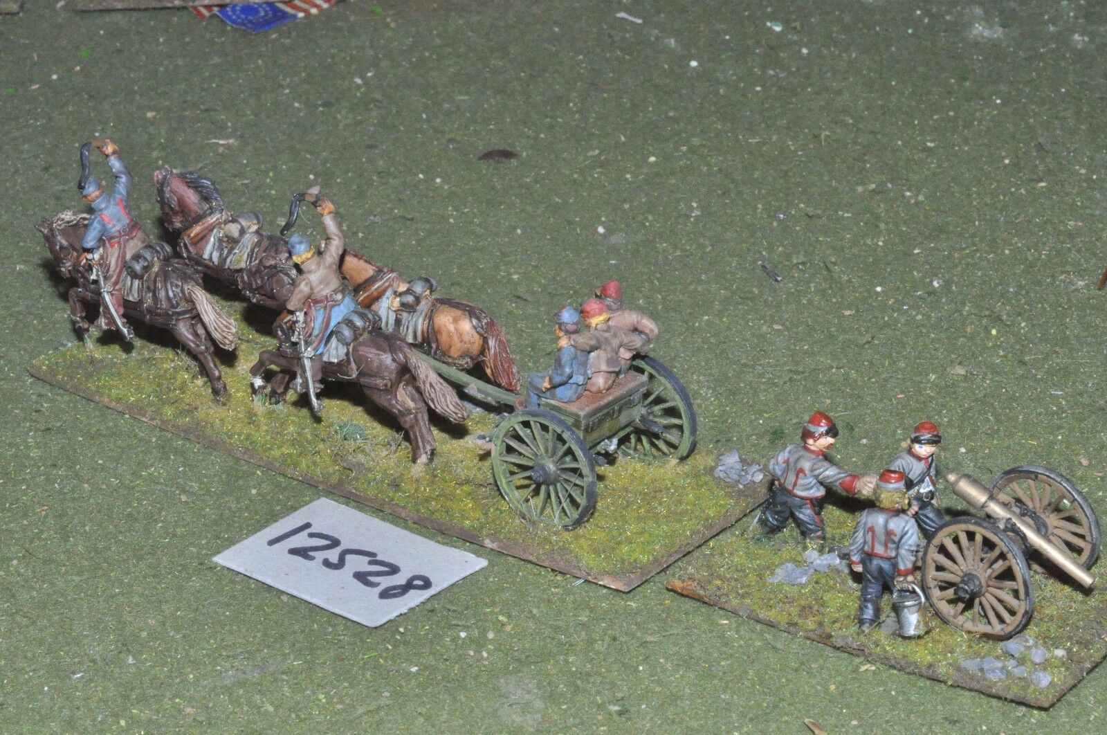 25mm ACW   confederate - american civil war 3 gun & crew - art (12528)