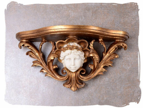 Konsole Barock Mädchenkopf vergoldet Antik Kamin 60 cm Luxus Wandregal Ablage